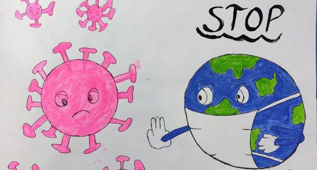 Child's Stop COVID-19 illustration